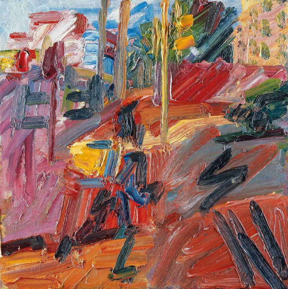 Frank Auerbach (b 1931) Hampstead Road, High Summer 2010, Painting, Oil paint on board, 562 x 562 mmPrivate collection, © Frank Auerbach, courtesy Marlborough Fine Art