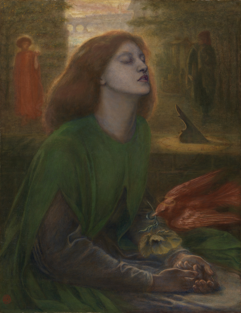 Beata Beatrix c. 1864-70    , Dante Gabriel Rossetti 1828 - 1882   , Oil paint on canvas  , 864 x 660 mm  , Tate. Presented by Georgiana Baroness Mount-Temple in memory of her husband, Francis, Baron Mount-Temple 1889