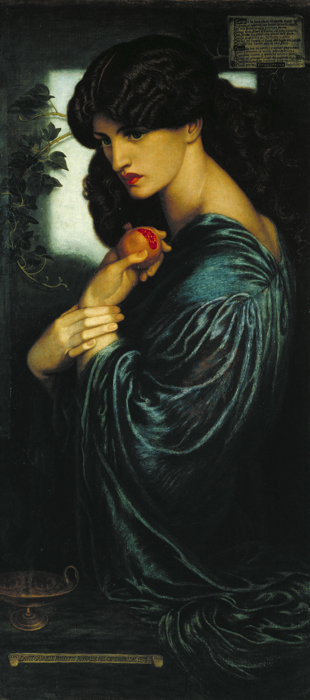 Dante Gabriel Rossetti, Proserpine 1874   , Oil paint on canvas 1251 x 610 mm Tate. Presented by W. Graham Robertson 1940