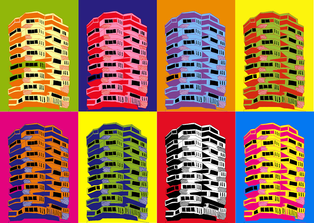 I made a little Warhol inspired version of my Number One Croydon drawing! You can get hold of a copy here.