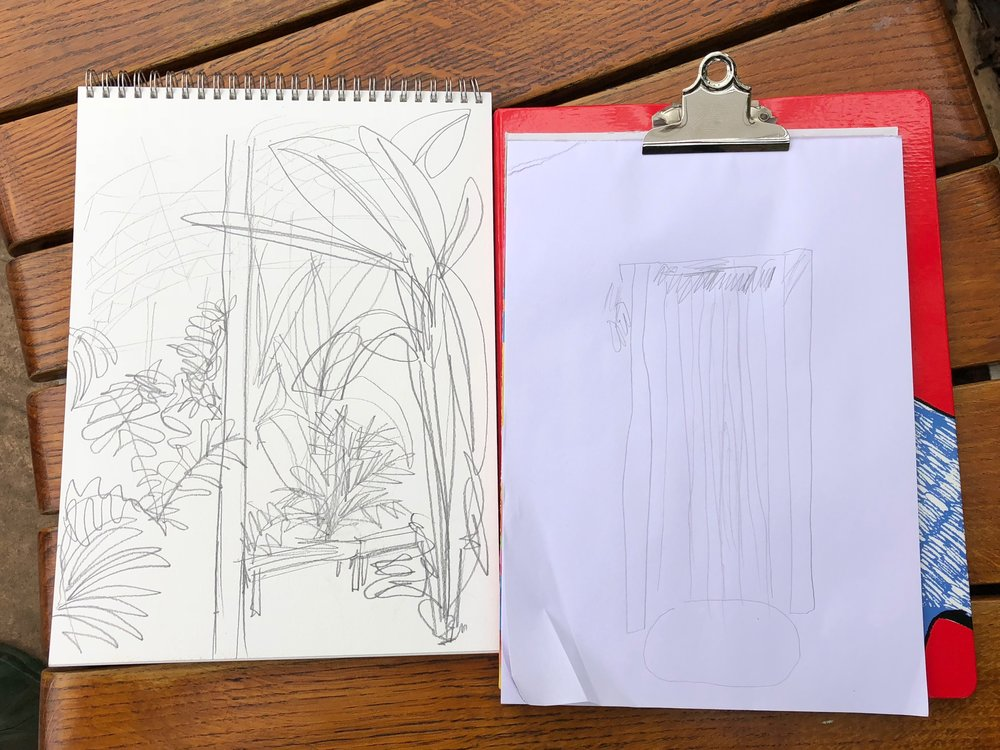 I drew plants and he drew the waterfall…