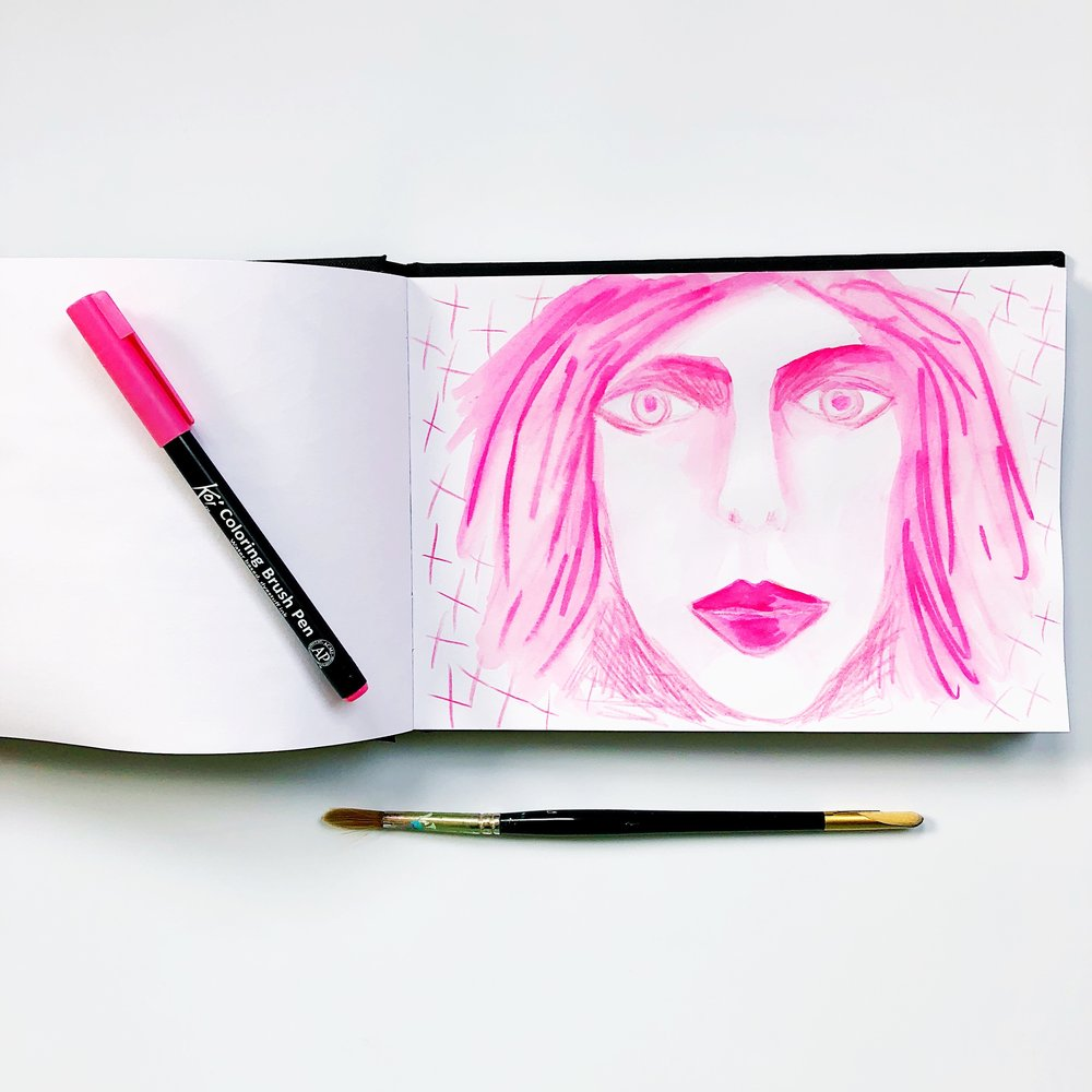 Week 1, day 7 - one colour drawing pink