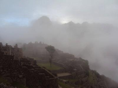 Machu Picchu on a misty morning