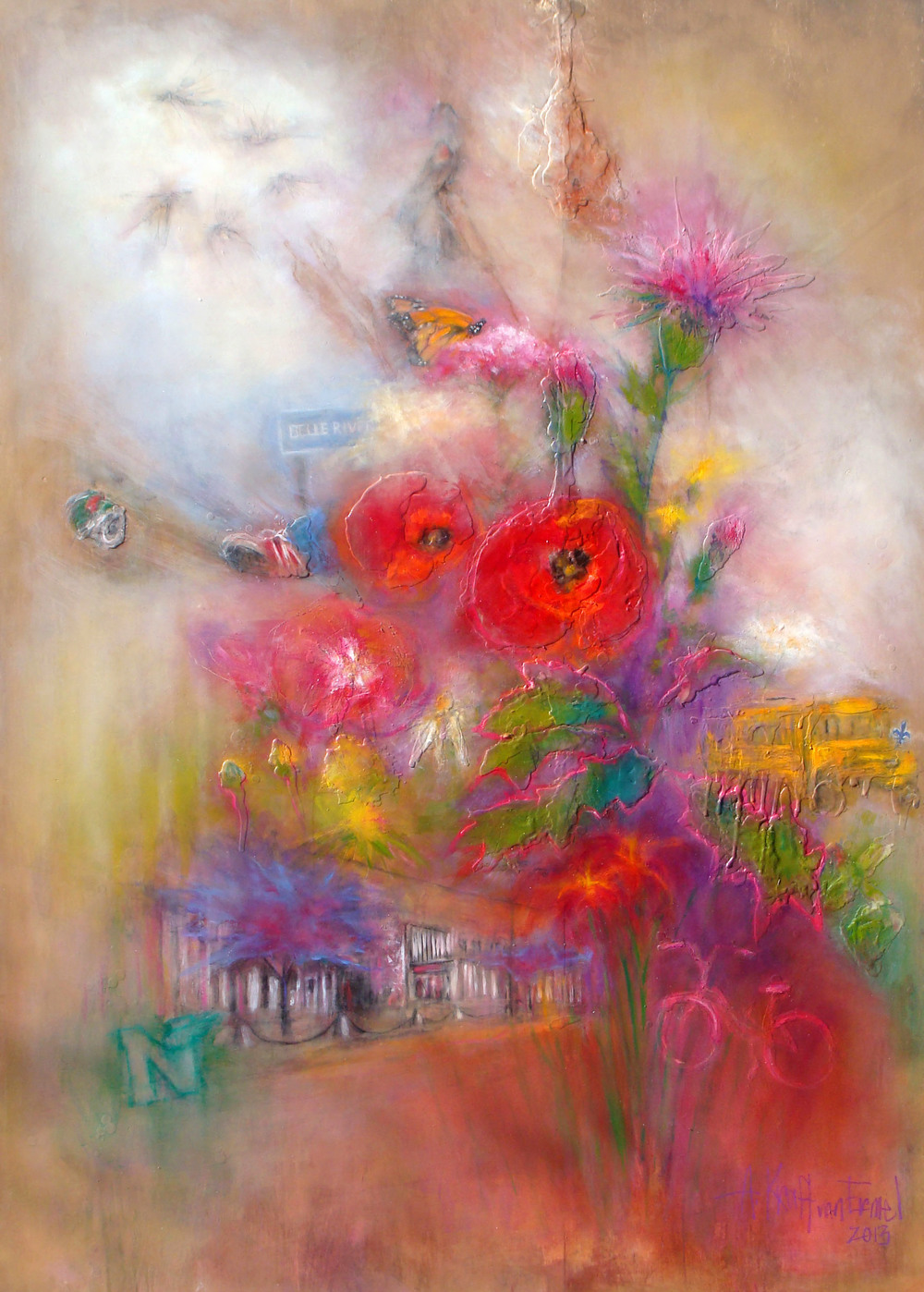 "a bouquet of childhood memories, oil, wax, pastel on wood, 84x60"", 2013, SOLD"