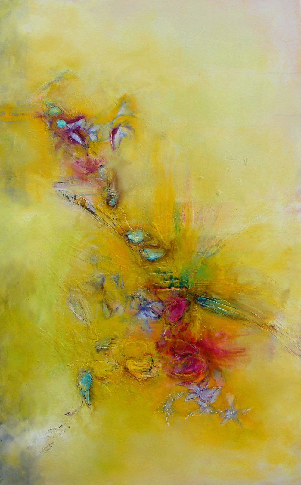 "dissolved into petals, oil, wax, pastel on wood, 48x30"", 2013, SOLD"