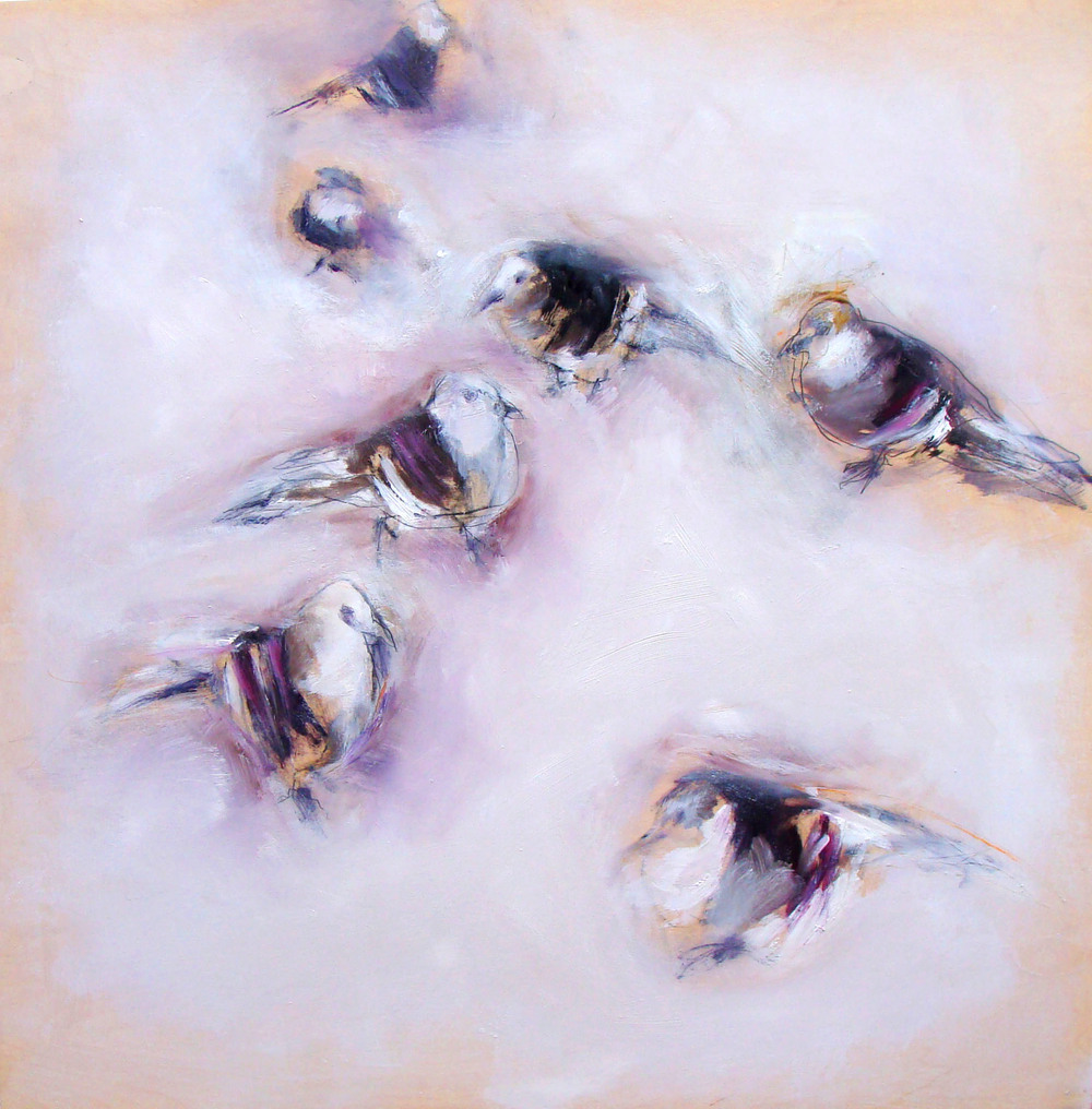 """do pigeons dream? oil, wax on wood, 36x36"""", 2012, SOLD"""