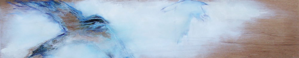 """at peace, oil,wax, charcoal on wood, 14x72"""", 2012, SOLD"""