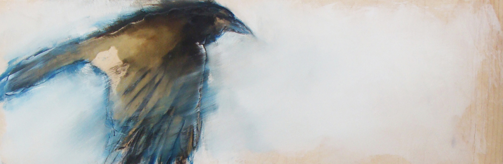 """blueblack with an agenda, oil, wax, charcoal on wood, 12x36"""", 2012, SOLD"""