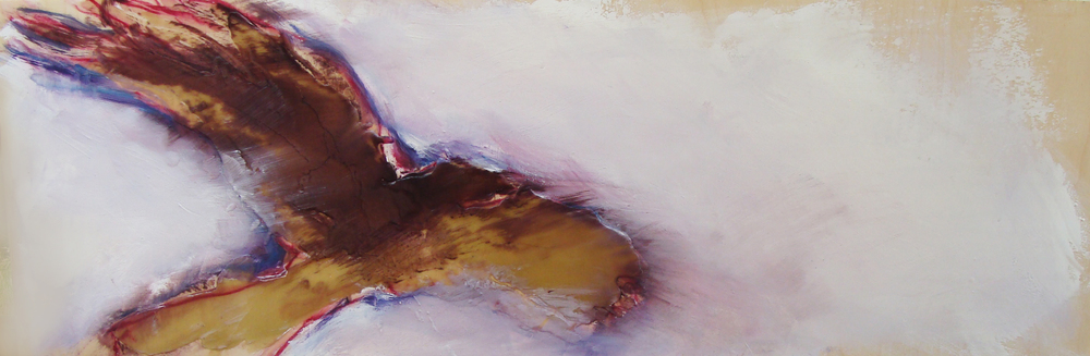 """into magenta skies, oil, wax, pastel on wood, 12x36"""", 2012, SOLD"""