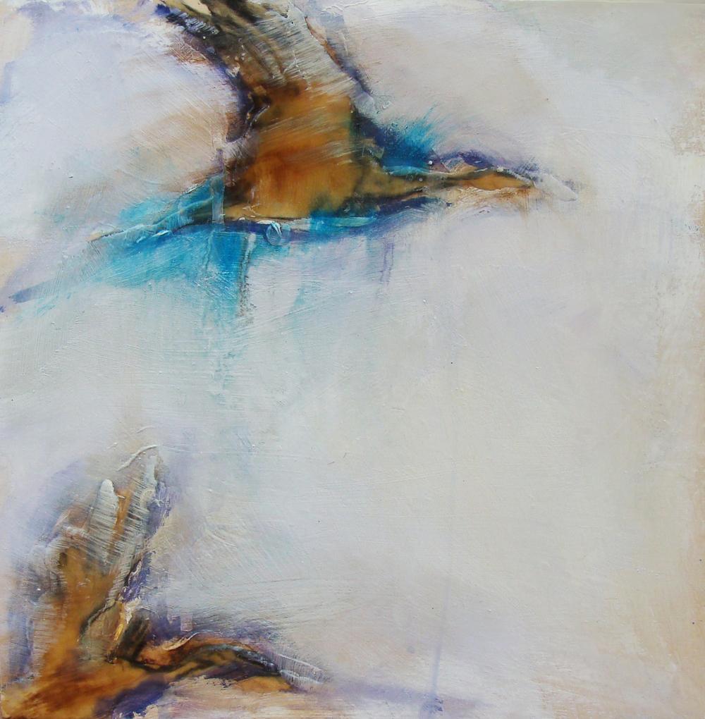 "chasing still, oil, wax, pastel on wood, 12x12"", 2012, SOLD"