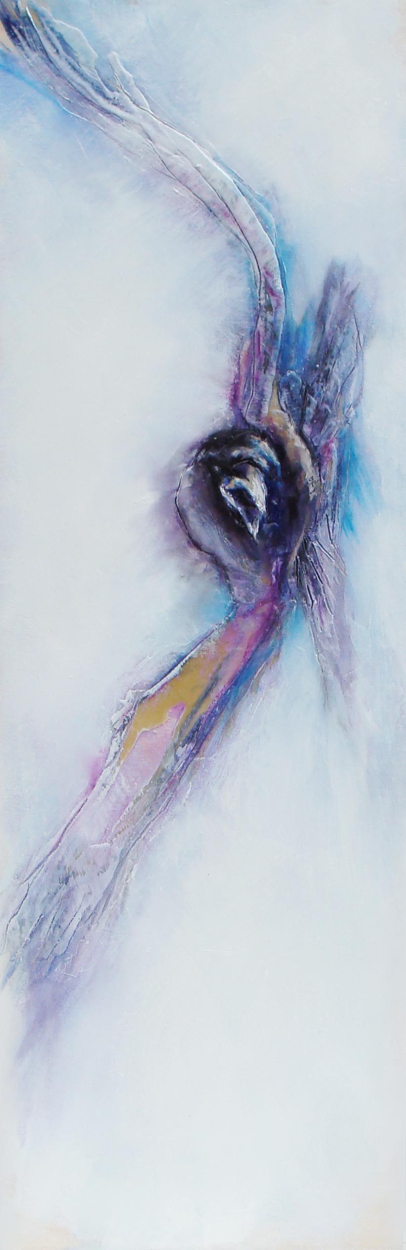 """regal attire, oil, wax, pastel on wood, 36x12"""", 2012, SOLD"""