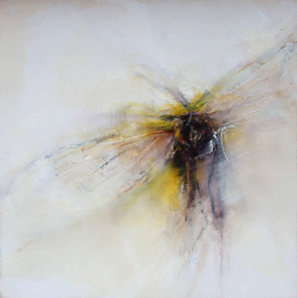 "hover, oil, wax, charcoal on wood, 16x16"", 2012, SOLD"