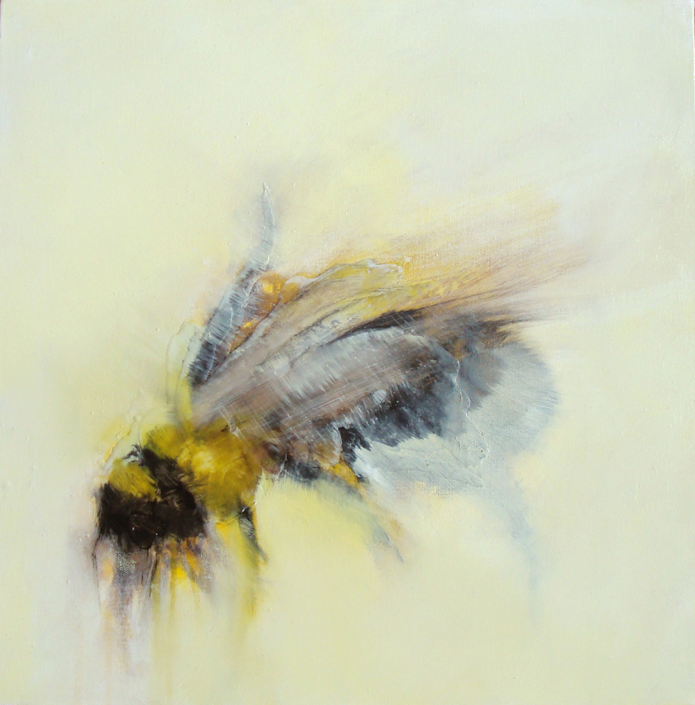 "milk bee, oil, wax, charcoal on canvas, 18X18"", 2011, SOLD"