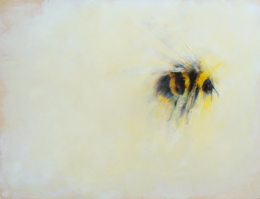 "grande bourdon, oil, wax, charcoal on wood, 36x48"", 2012, SOLD"