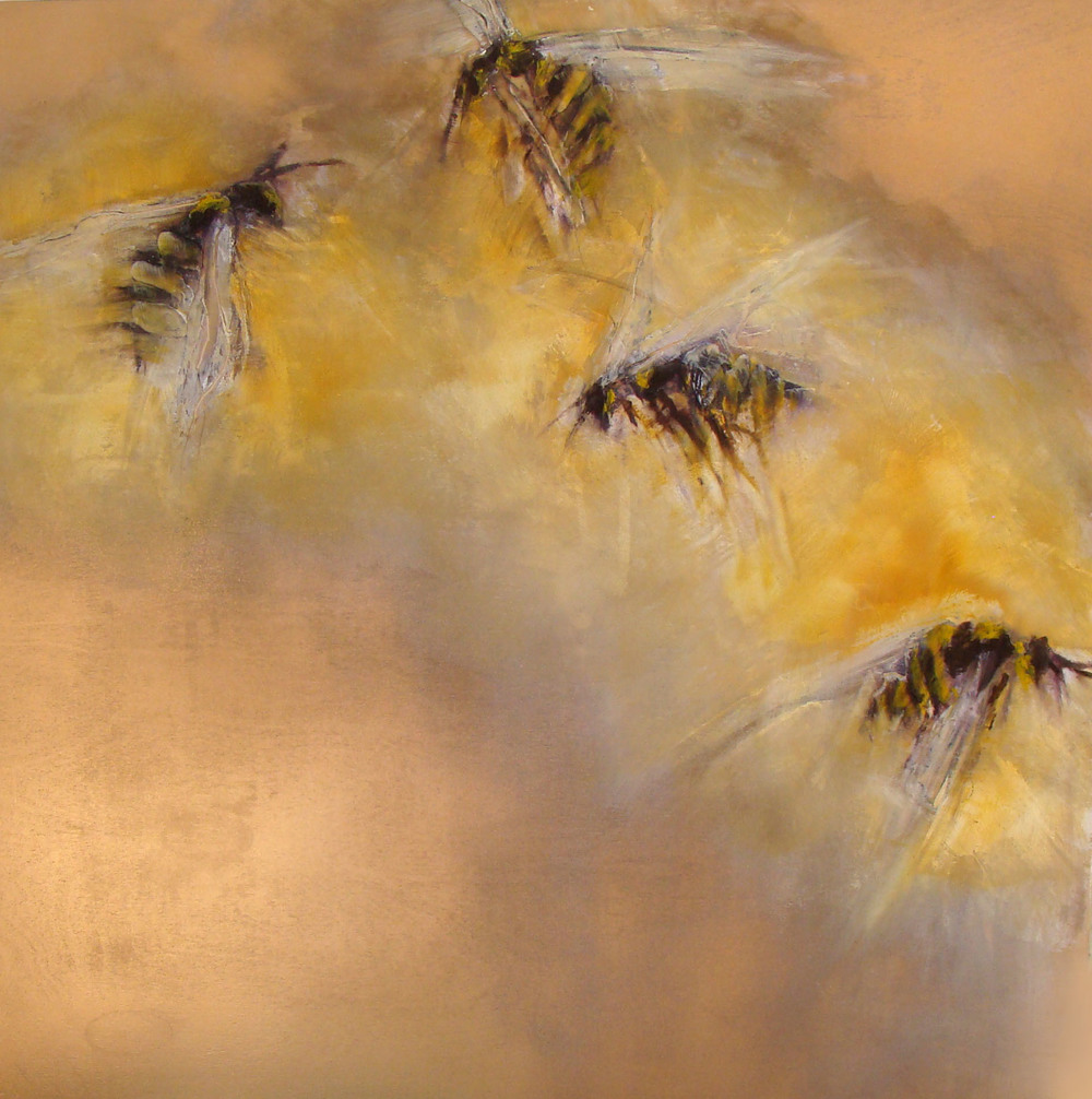 """on a golden breeze, oil, wax, spray paint on wood, 30x30"""", 2012, SOLD"""