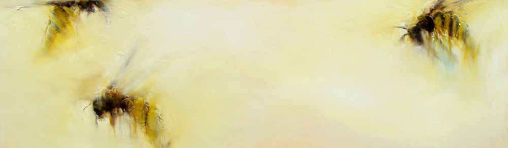 """on their way, oil, wax, charcoal on wood, 12x36"""", 2011, SOLD"""
