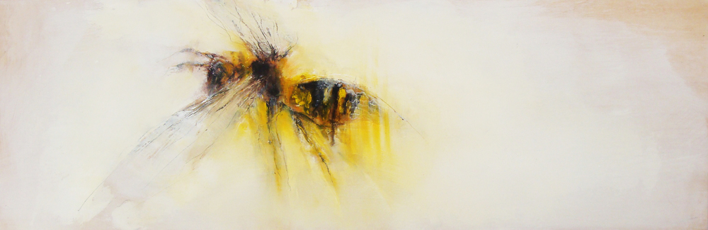 "the glow of a yellow jacket, oil, wax, charcoal on wood, 12x36"", 2011, SOLD"