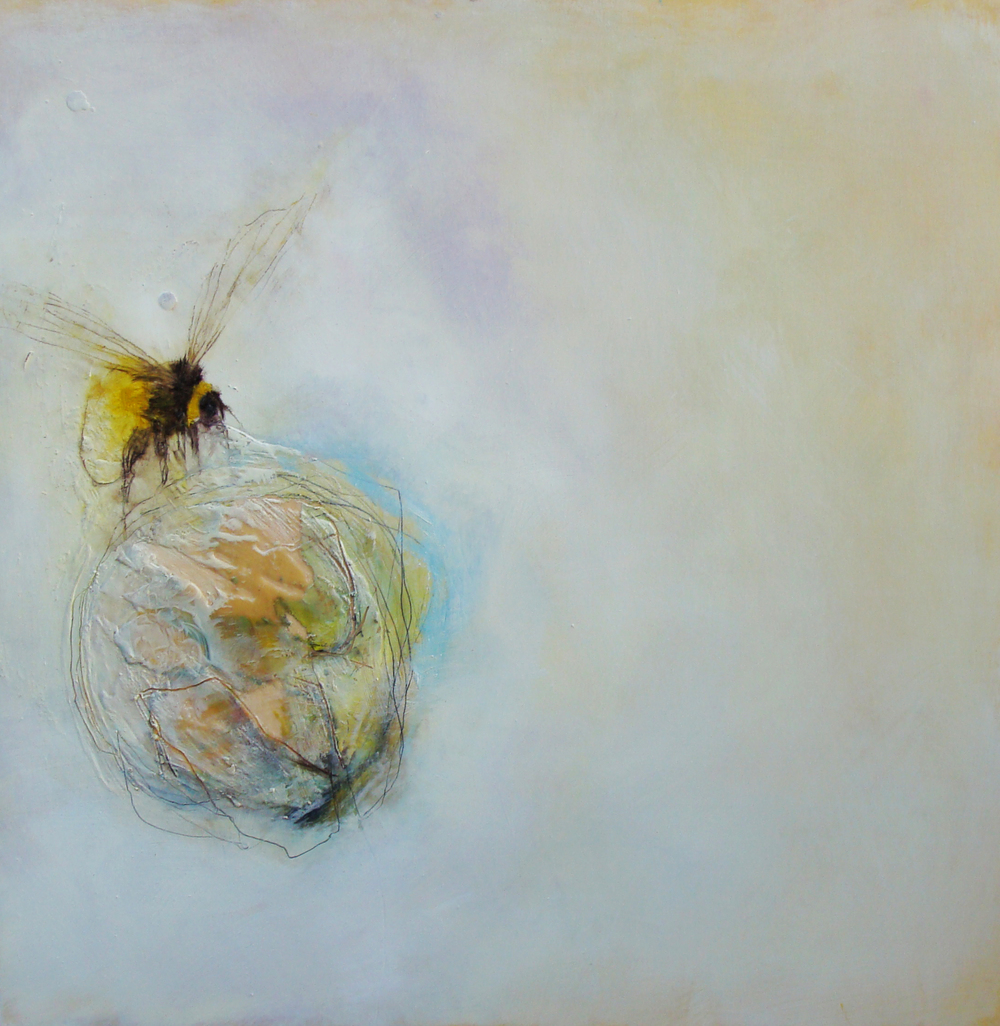 "remember the giant peach story? oil, wax, charcoal on wood, 30x30"", 2012, SOLD"