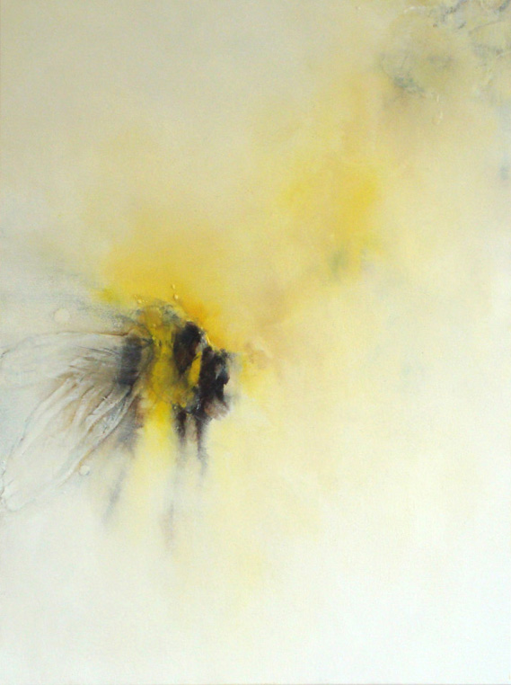 "untitled (bee series), oil, wax on canvas, 24x18"", 2010, SOLD"