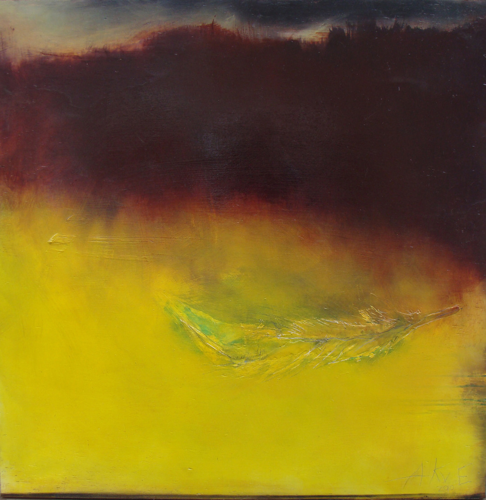 "under the storm, oil, wax on wood, 36x36"", 2010, SOLD"