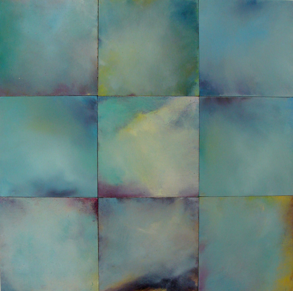"""calm squares, oil, acrylic, on wood, 24x24"""", 2009"""