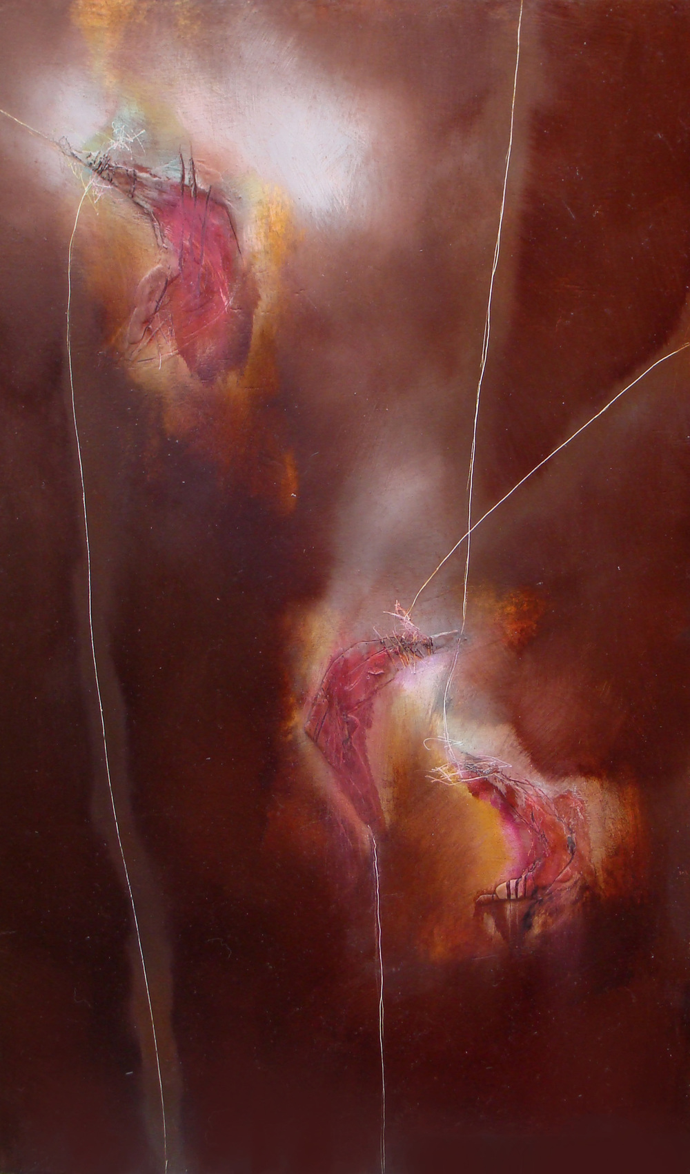"on strings, oil, wax on wood, 30x18"", 2009, SOLD"