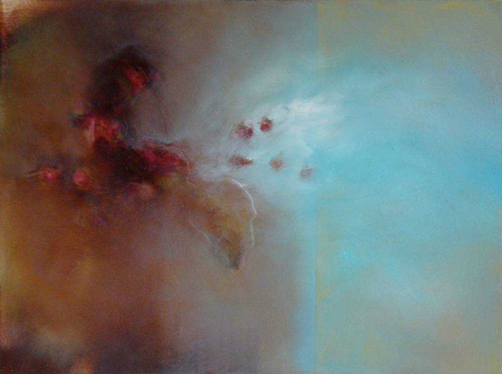 "flavoured with contrast, oil, wax, charcoal on canvas, 18x24"", 2009, SOLD"