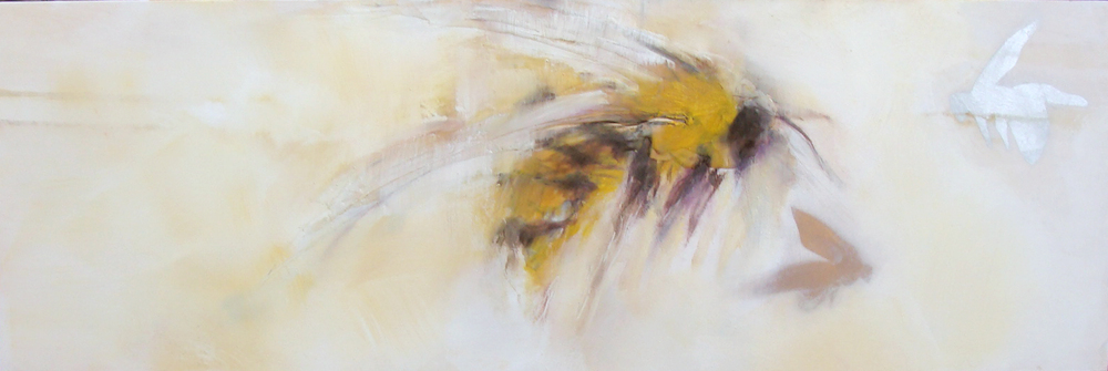 """2 metallic bees infront of me - oil, wax, spray paint on wood panel, 12x36"""", 2016, SOLD"""
