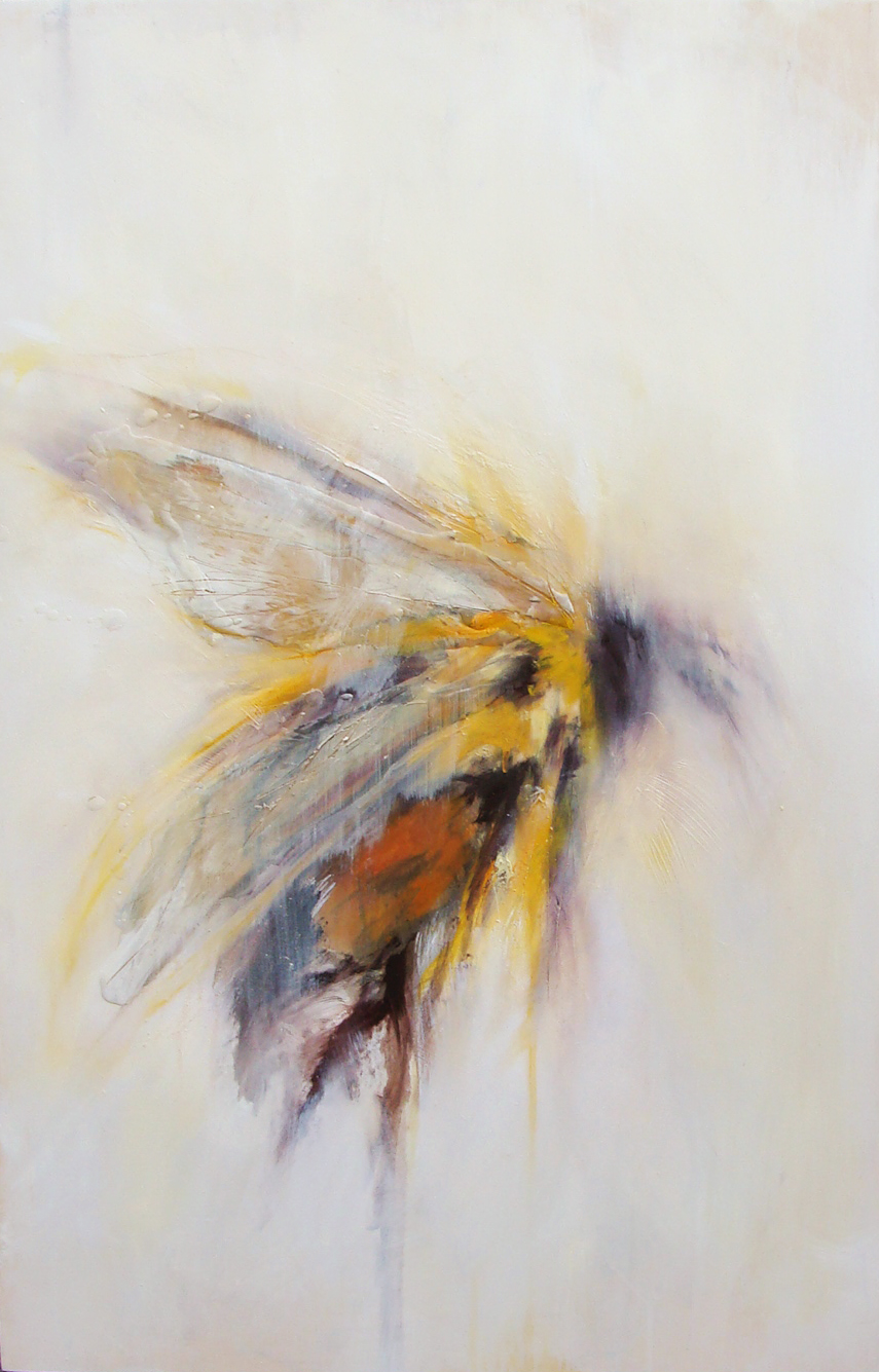 """orange thunder under my wing - oil, wax on wood panel, 36x24"""", 2016, SOLD"""