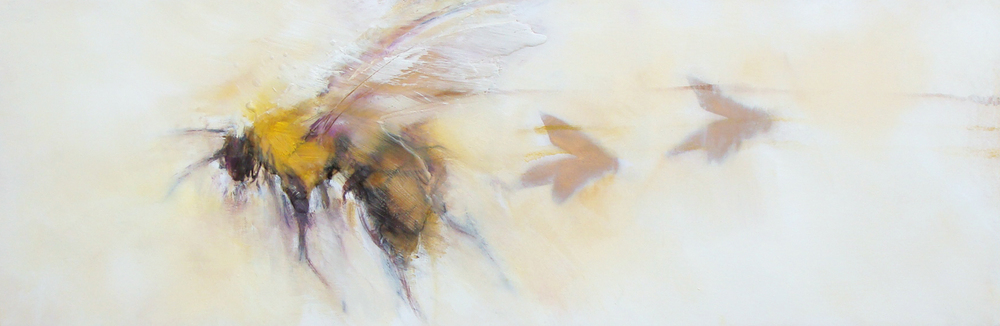 """shadow bees behind me - oil, wax, spray paint on wood panel, 12x36"""", 2016, SOLD"""