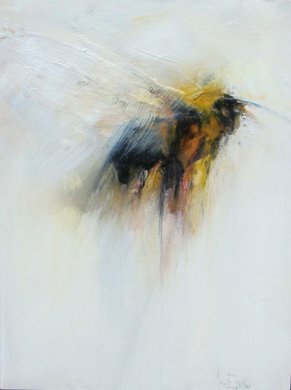 "black sheep - oil, wax, charcoal on wood panel, 16x12"", 2016, SOLD"