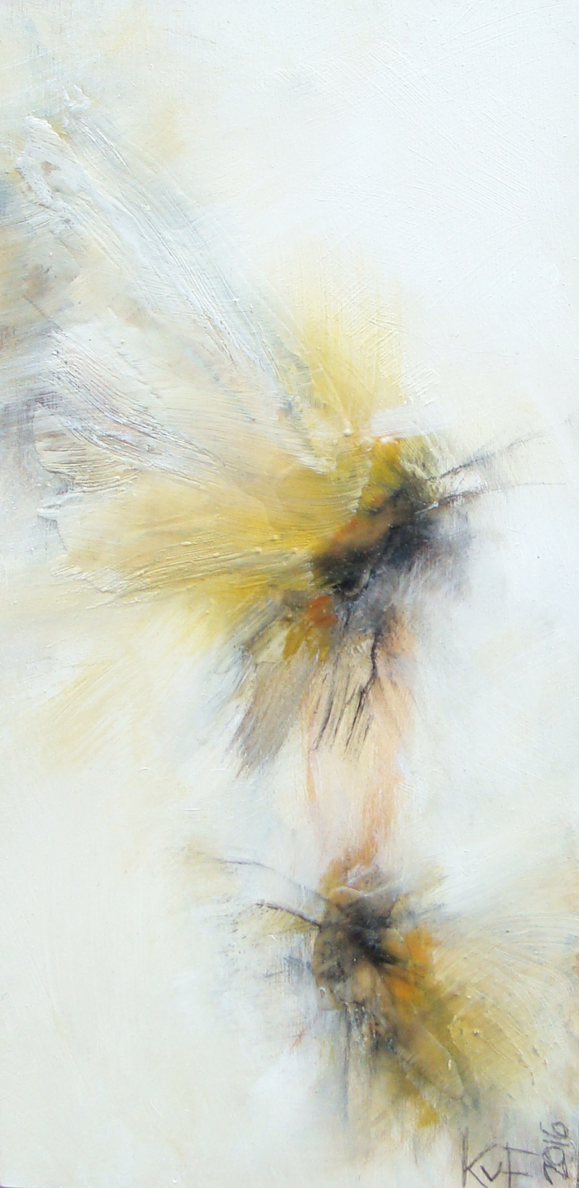 """little flying insects -  oil, wax, charcoal on wood panel, 12x6"""", 2016, SOLD"""