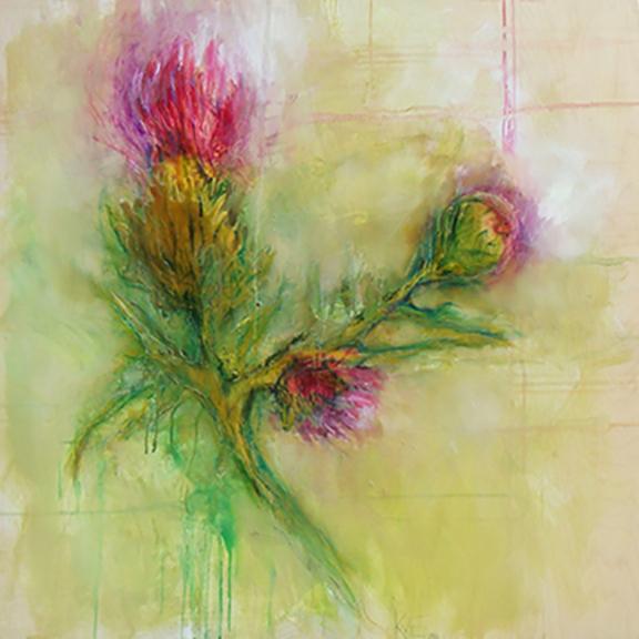"backyard surprise - oil, wax, pastel on wood panel, 36x36"", 2016, SOLD"