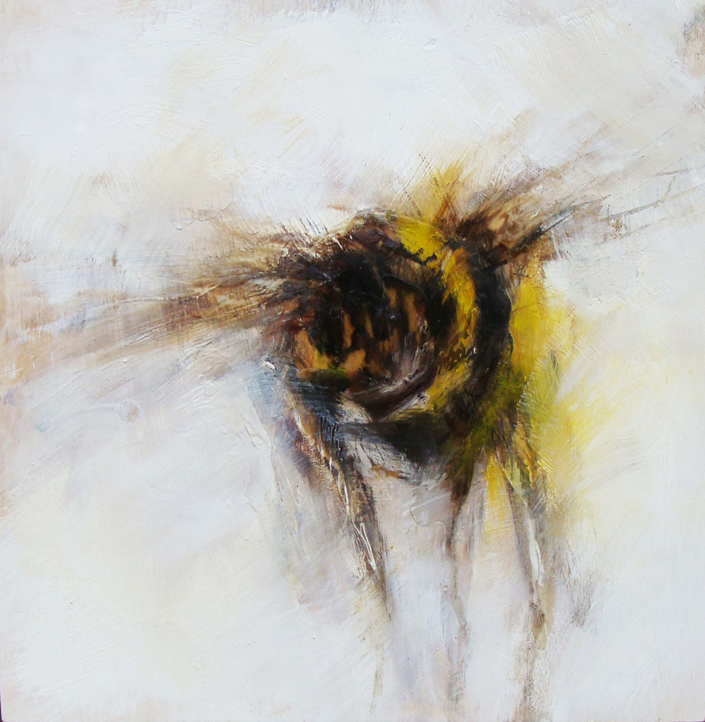 """swaying in the wind 4 - oil, wax, charcoal on wood panel, 12x12"""", 2014   SOLD"""