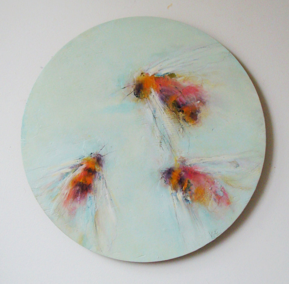 "progression - oil, wax, graphite on found wood, 21.5"" diameter, 2017"