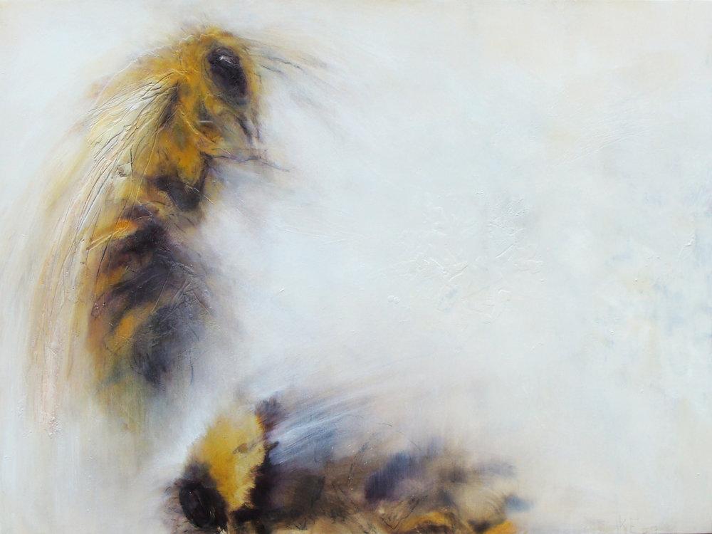 "share - oil, wax, charcoal on wood panel, 36x48"", 2017"