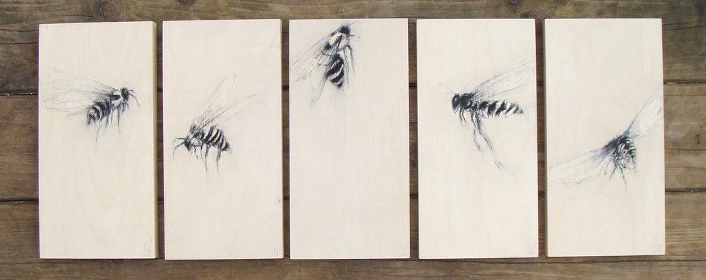 "making medicine - charcoal on wood panels, 12x6"" ea., 2017, SOLD"