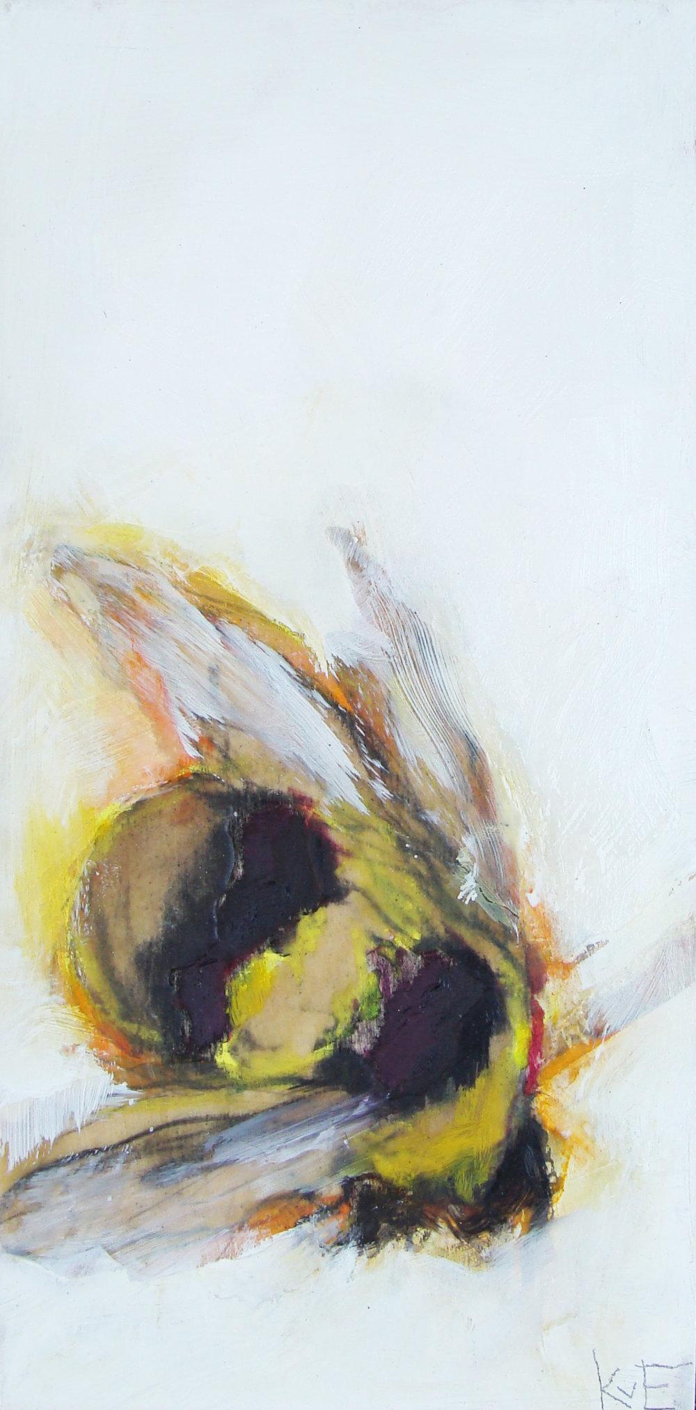 """Tiny's bee - mixed media on panel, 12x6"""", 2017,  SOLD"""