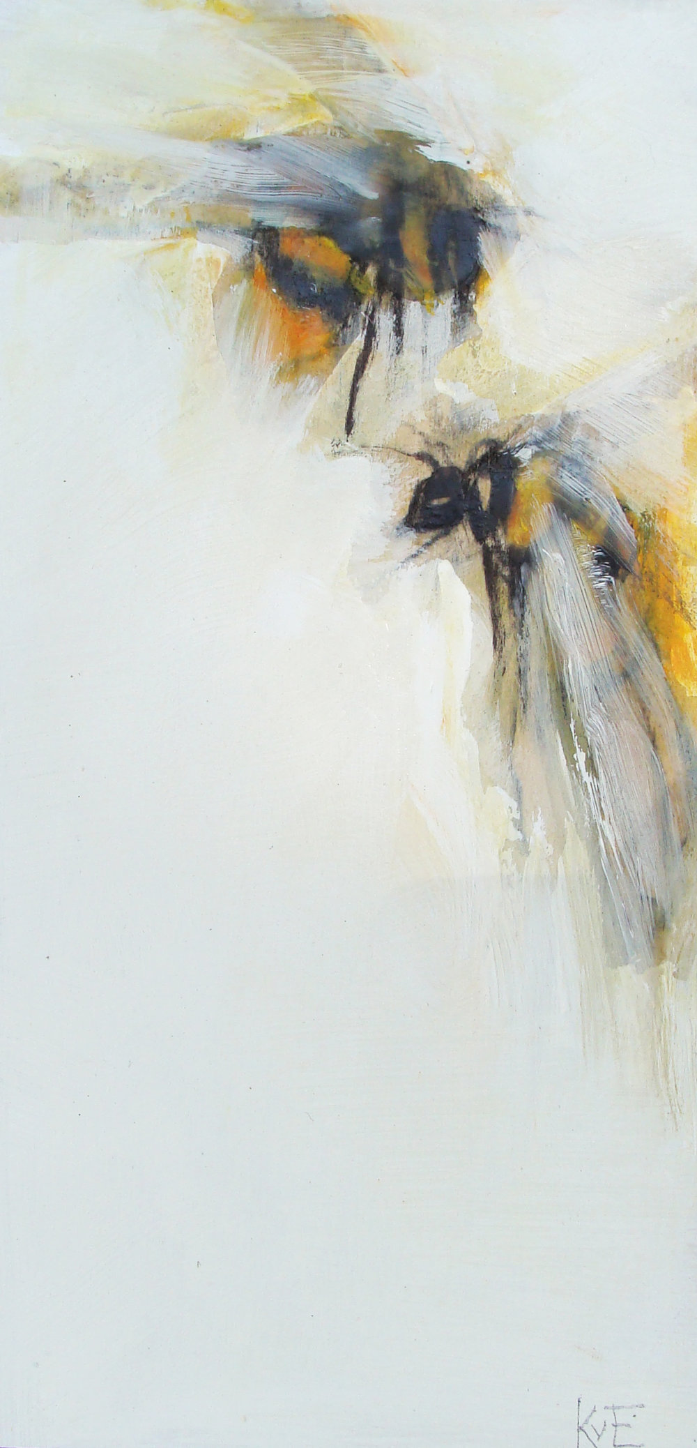 """Tiny's bee 3 - 12x6"""", oil, mixed media on panel, 2017, SOLD"""