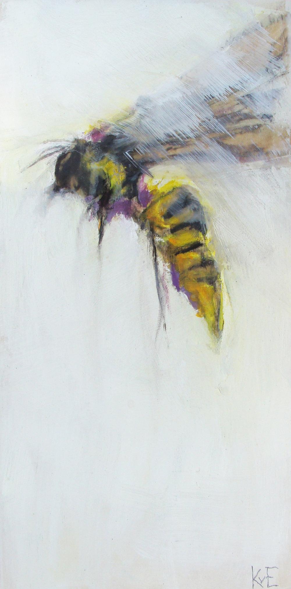 "Tiny's bee 2 - 12x6"", oil, mixed media panel, 2017,  SOLD"