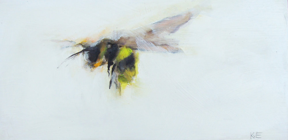 """Tiny's bee - 6x12"""" oil, mixed media on panel, 2017, SOLD"""