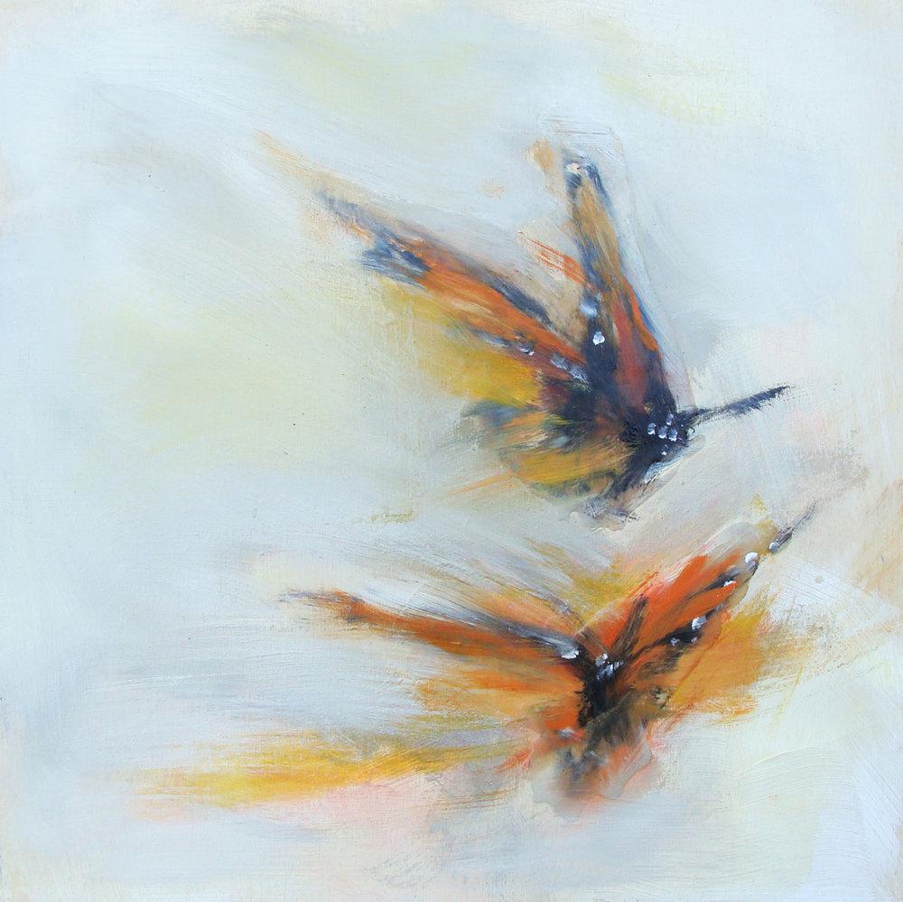 "orange flutter - oil, wax, charcoal on panel, 12x12"", 2017"
