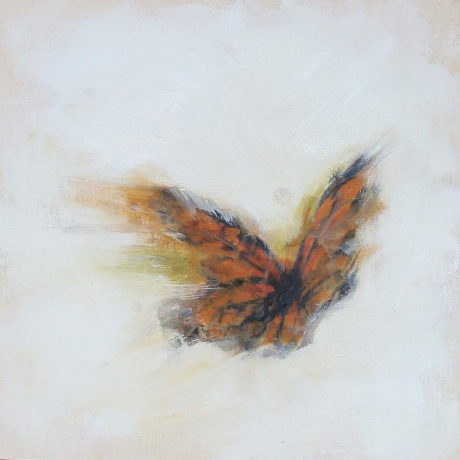 "monarch magic 2 - oil, wax, charcoal on panel, 12x12"", 2017"