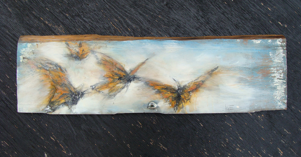 """september's migration - oil, wax, charcoal on weathered wood, 8x31"""", 2017,  SOLD"""