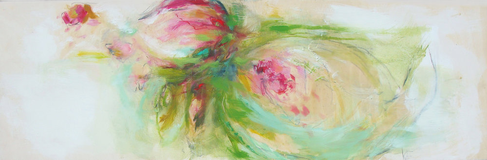 "spring is here - oil, wax, charcoal on panel, 12x36"", 2018, SOLD"