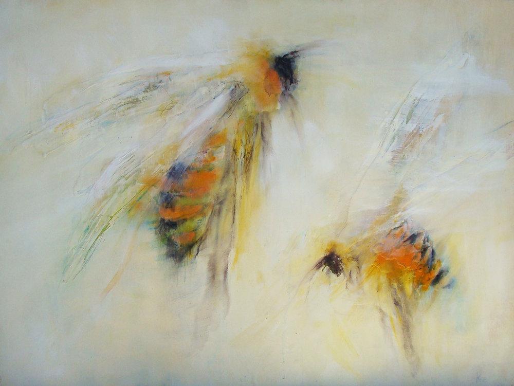 "bellies orange - oil, wax, charcoal on panel, 30x40"", 2017/18"