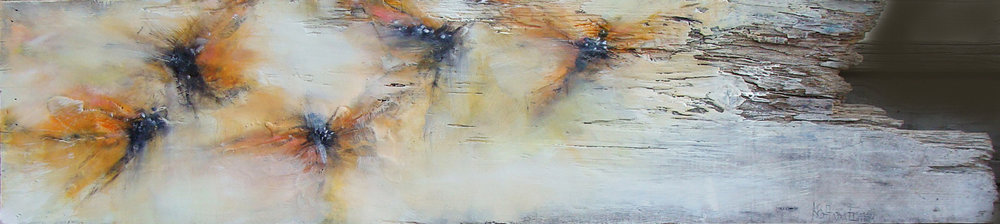 """with warmth - oil, wax, charcoal on weathered wood, 9x40"""", 2018, SOLD"""