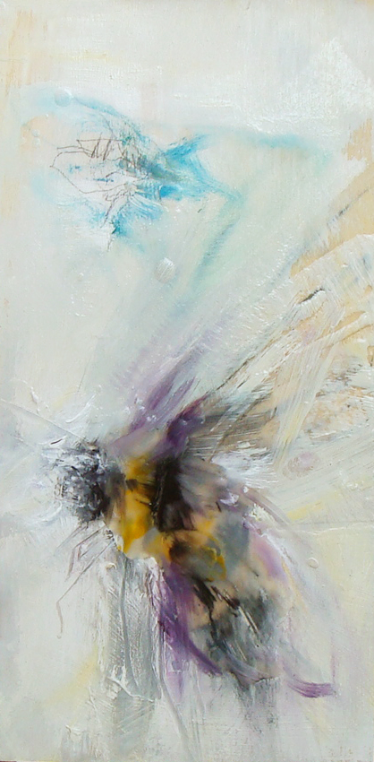 """fly above me, oil, wax, charcoal on panel, 12x6"""", 2018, SOLD"""