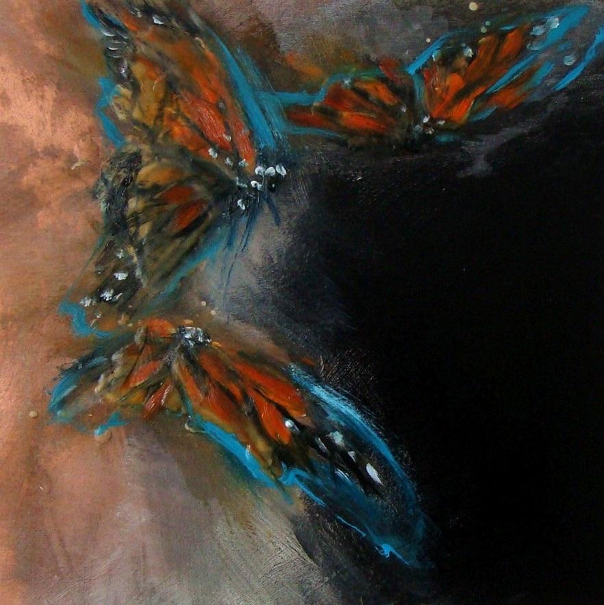 """copper storm 1 - oil, wax, enamel on panel, 12x12"""", 2019"""