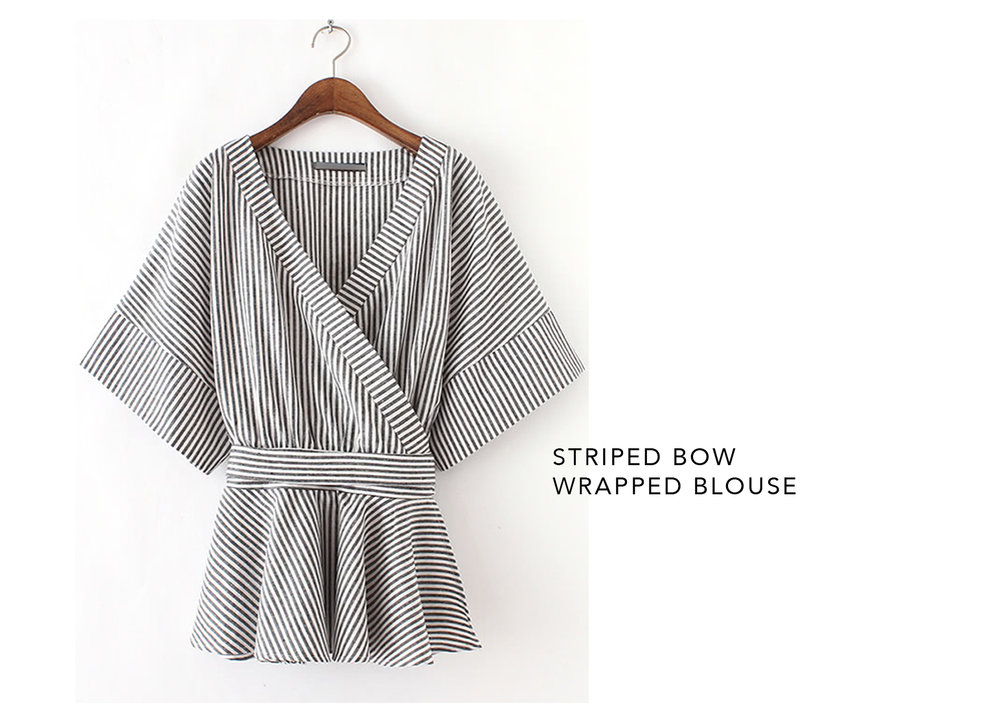 Romwe Striped Wrapped Blouse